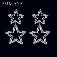 Женские длинные большие капли EMMAYA, роскошные серьги с микрозакрепкой и кубическим цирконием, подвеска в форме звезды, вечерние свадебные ук...