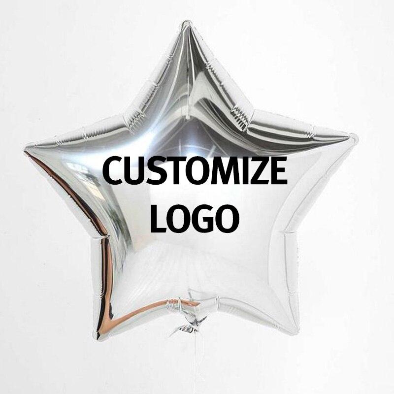 Globos de papel de aluminio de 18 pulgadas impreso con logotipo para promociones de la empresa decoraciones de fiesta de boda Globos de estrella de corazón redondo logotipo personalizado