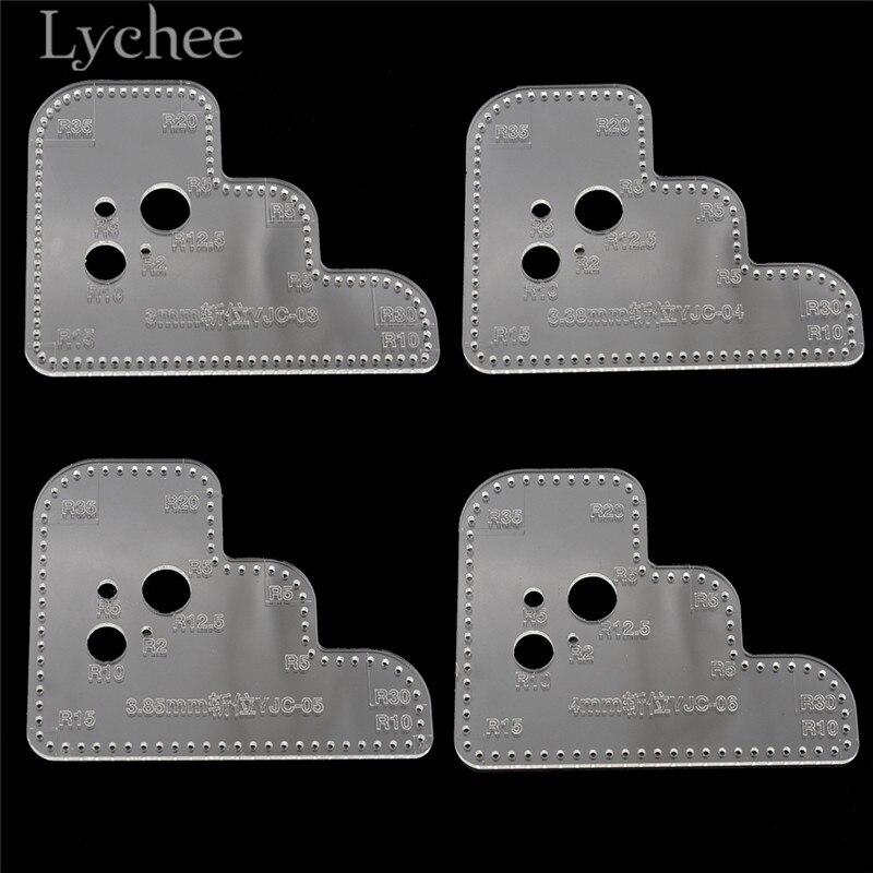 Lychee Acrylic Cutting Circle Corner Stitching Stencil Handmade Leather Template DIY Sewing Pattern