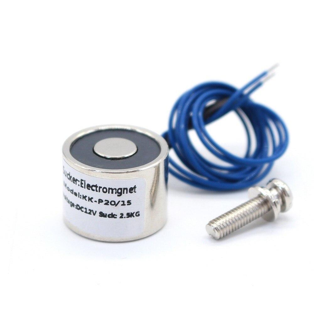 Small 20/15 DC 12V Cylinder Electromagnet Lifting 2.5KG 25N Solenoid Sucker Holding Electric Magnet custom