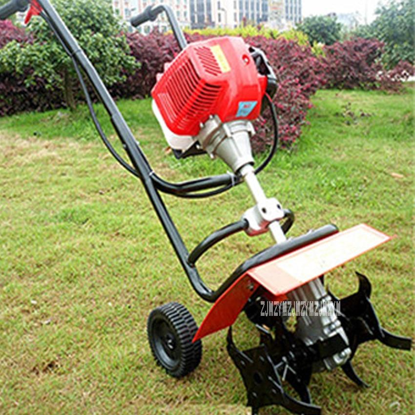 Mini cultivador rotativo manual para caminar, 44-5, 52CC, 1.9kw, motor de gasolina de 2 tiempos, cultivador rotativo de Tractor para caminar
