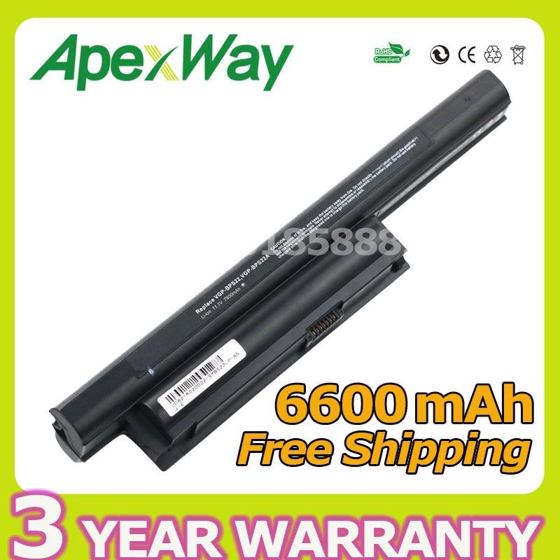 Apexway 6600mAh 9 cell Laptop Battery for Sony VGP-BPS22 VGP-BPS22A For VAIO VPC-E1Z1E VPC-EA1 VPC-EA18EC VPC-EB15GB VPC-EC4S0E