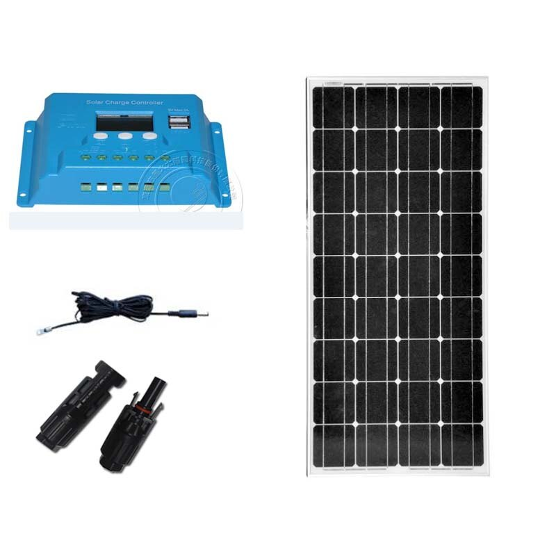Carregador de Bateria Painel Solar Controlador 12 v – 24 10a Lcd Carro Acampamento Caravana rv Barco pv Zonnepaneel Kit 100w 18v