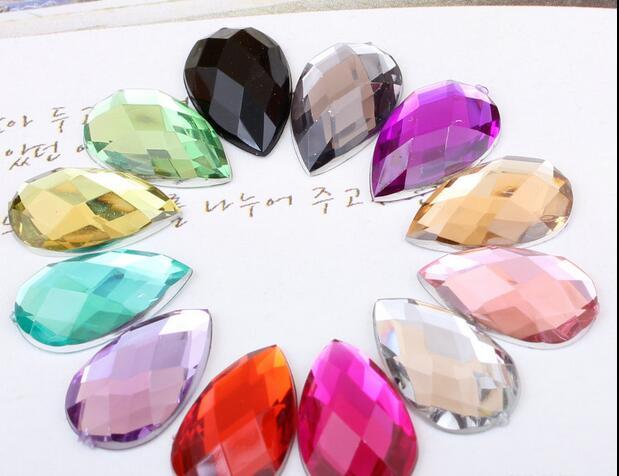 2,000pcs/Bag 8*13mm Flat Back Tear Drop Shape Acrylic Rhinestones,Acrylic Plastic 3D Nail Art / Garment /Jewelry Rhinestone