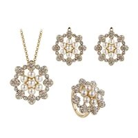 imitation pearl jewelry set earrings and pendant party pearl jewelry sets for women sun shape round pearl jewellry