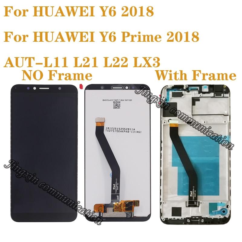 Nueva pantalla para Huawei Y6 Prime 2018 ATU-L11 L21, pantalla LCD, accesorios de Digitalizador de pantalla táctil para Y6 2018 lcd con marco