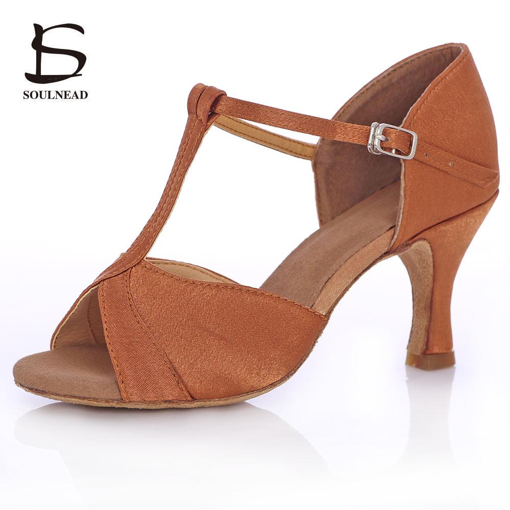 Women's Latin Dance Shoes Deep Skin Color Heels Ballroom Salsa Tango Ladies Dancing Shoes Woman 5/7cm Heel Ballroom Dance Shoes