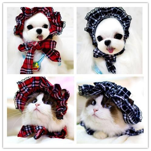 Free shipping pet dog hats caps red plaid blue plaid maidservant  pet dog accessories 10pcs/lot