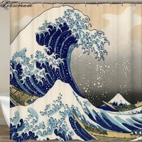 Rideau de douche japonais Kanagawa  motif ondule  etanche  pour salle de bain ou tapis