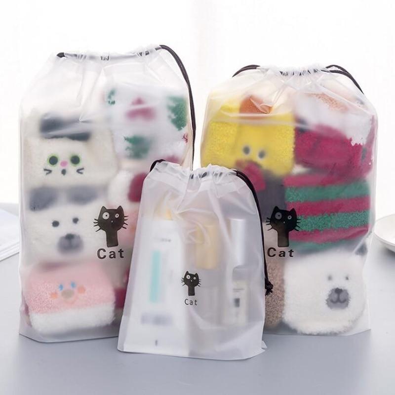 Cartoon Black Cat Drawstring Storage Bag Travel Transparent Waterproof Bag Clothes Towel Underwear Cosmetic Classification