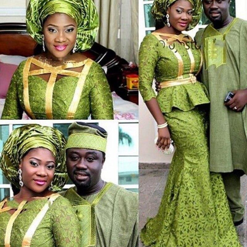 فستان نيجيري طويل للنساء ، دانتيل أخضر ، حورية البحر ، ثوب رسمي ، مصنوع حسب الطلب ، أنيق ، بأكمام