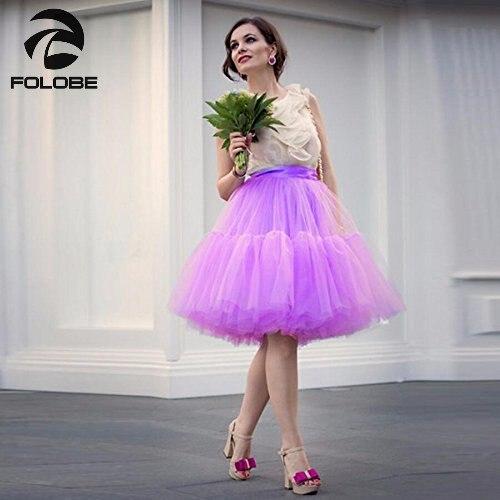 FOLOBE Roxo Claro 5 Camadas 60cm-long Celebridade Tule Saias Das Mulheres Saia Midi Adulto Princesa Tutu vestido de Baile Saias Faldas TT-B