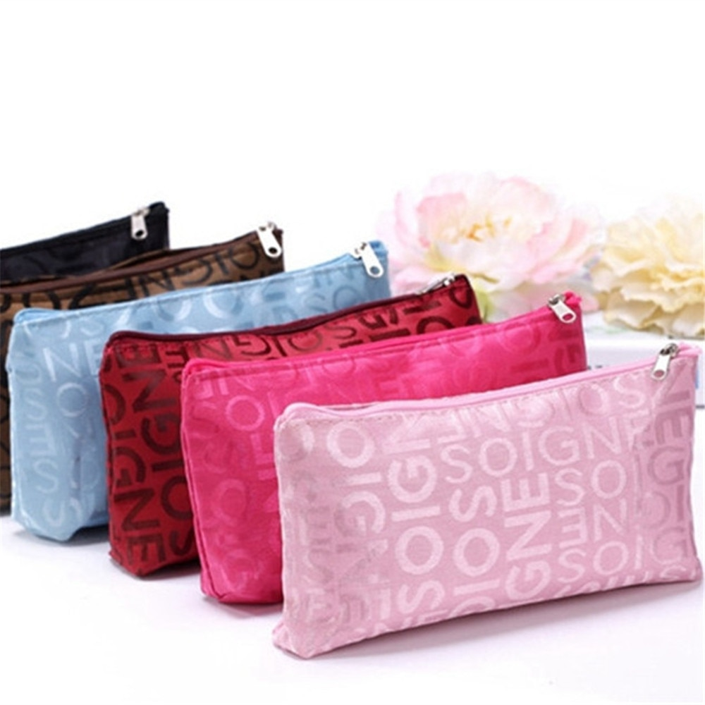 Cute Women Portable Multifunction Beauty Zipper Travel Cosmetic Bag Letter Makeup Bags Pouch Toiletr