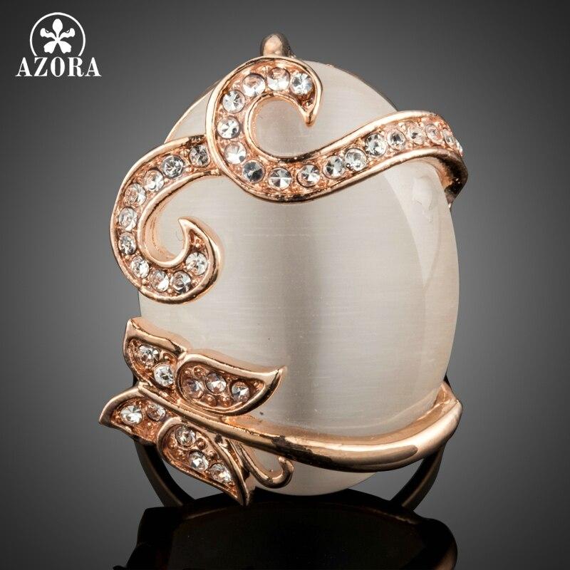 AZORA Rosa oro Color árbol vid cristales deslumbrantes ojo de gato piedra dedo anillos para mujeres boda compromiso joyería regalo TR0202
