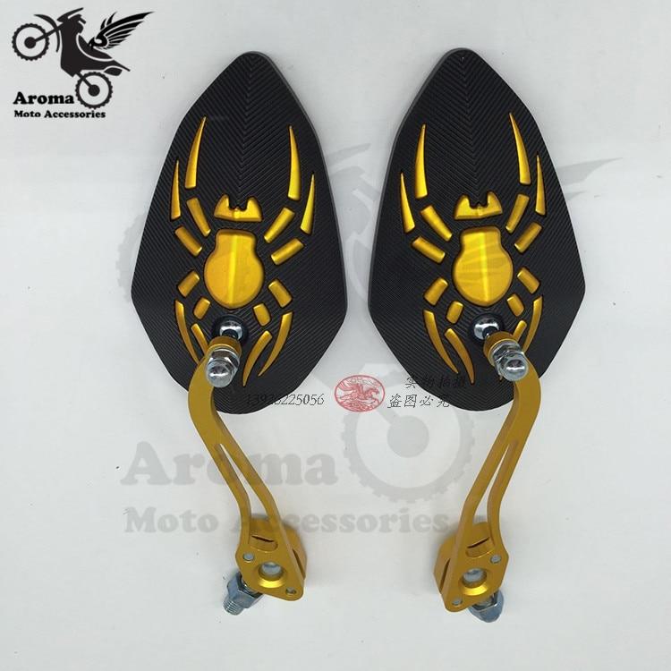 Calcomanías de arañas espejo retrovisor de motocicleta 10mm 8mm CNC universal lateral de motocicleta espejos para yamaha suzuki de metal dorado grande tamaño