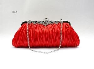 Red Chinese Women's Satin Handbag Clutch Evening Bag Party Bridal Purse Makeup Bag Free Shipping 7385-A