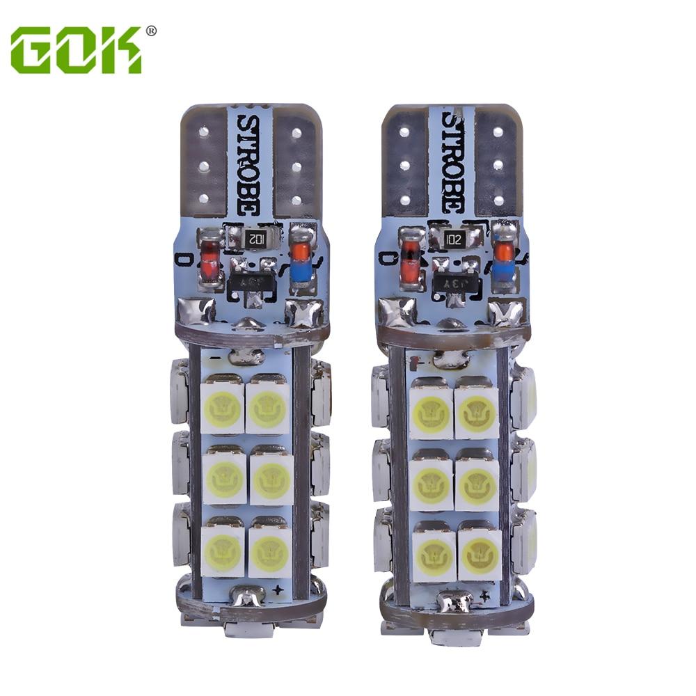2 unids/lote T10 led estroboscópico intermitente W5W T10 28SMD 1210 smd LED brillo duradero + flash estroboscópico automático dos modos bombilla de coche de operación