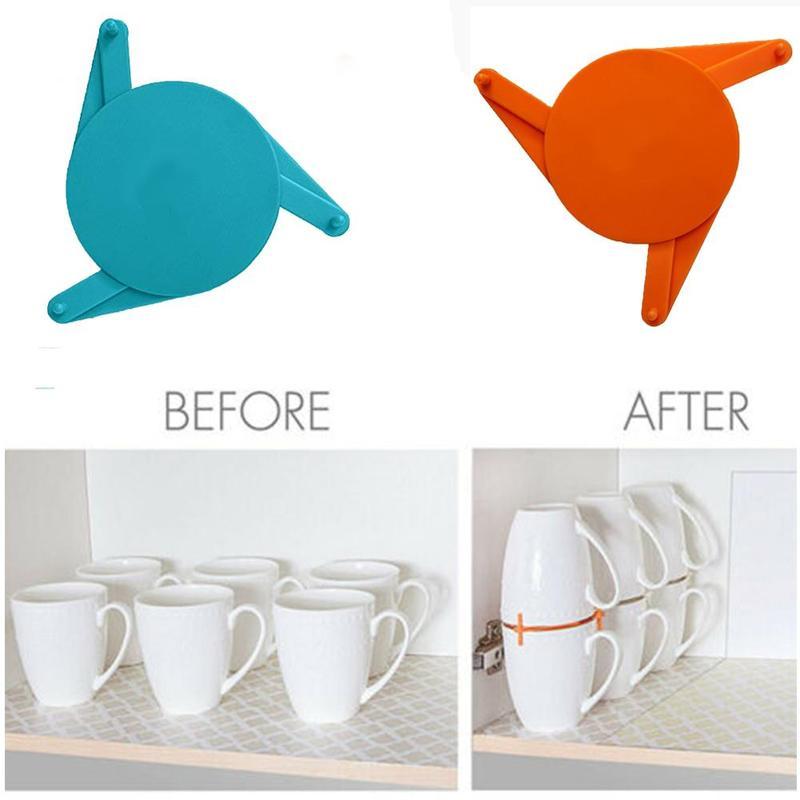 Organizador de tazas de café apilador estante gabinete para cocina dispositivo apilable expansible para tazas Color azul/naranja