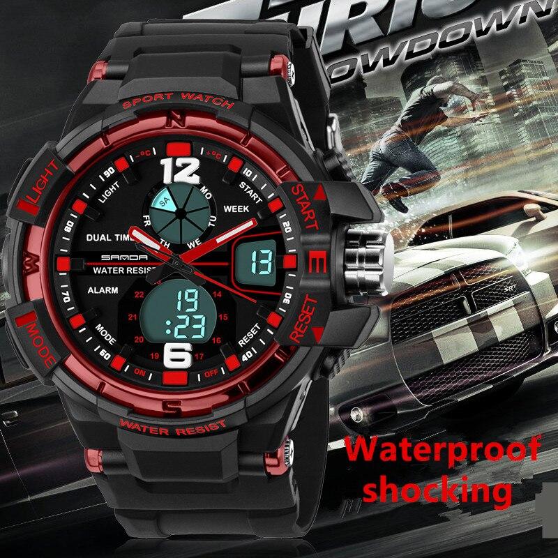 Luxus SANDA marke männer frauen 50 Mt wasserdicht dual time sport digitale armbanduhren dame laufen wandern led stopp uhren