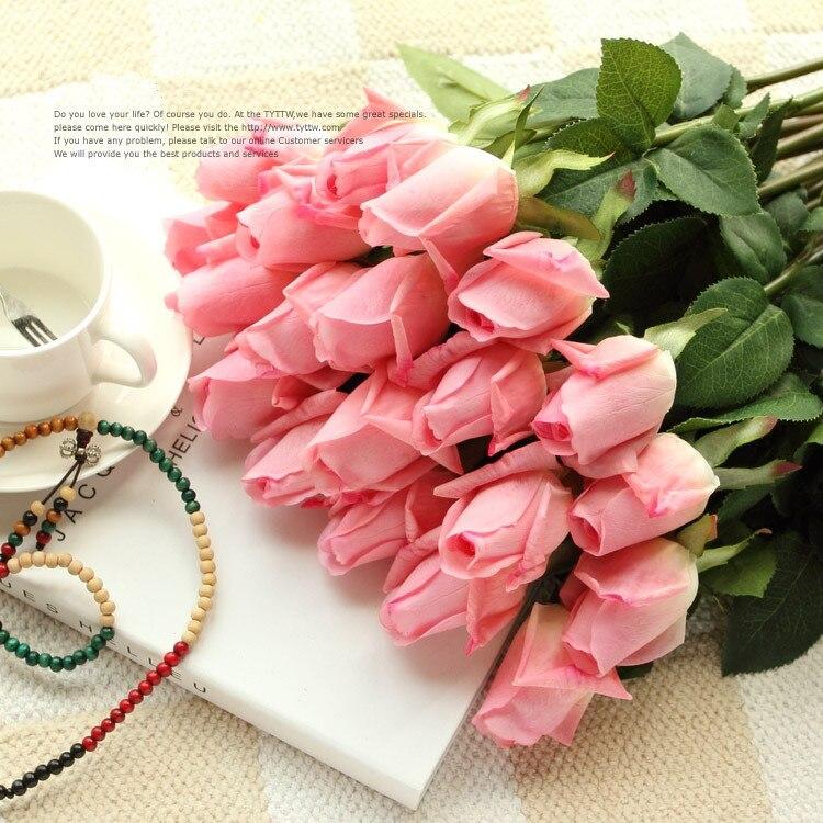Roses artificielles en PU fraîches pour décoration   Rose tactile réelle, fleurs décoratives de maison, cadeau danniversaire pour fête de mariage, livraison gratuite