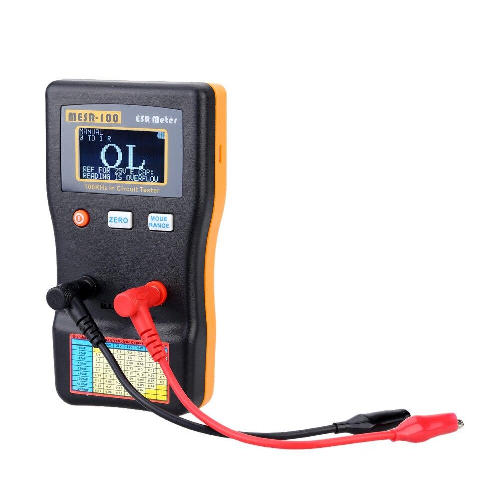 Probador de condensadores de circuito de resistencia de capacimetro profesional MESR-100 medidor ESR herramienta de diagnóstico de capacitancia de alta precisión