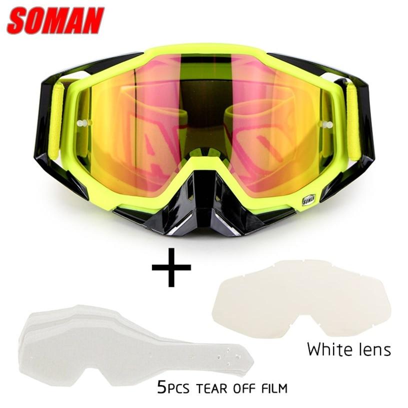 SOMAN motorcycle glasses with 5 tear off film&white lens motorcyclist glasses motocross goggles dirt bike glasses gafas SM11