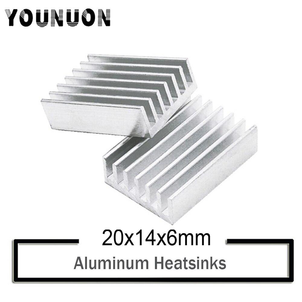 5000 Uds. YOUNUON 20x14x6mm disipador de calor de aluminio cinta adhesiva conductora para enfriador Chip de memoria IC