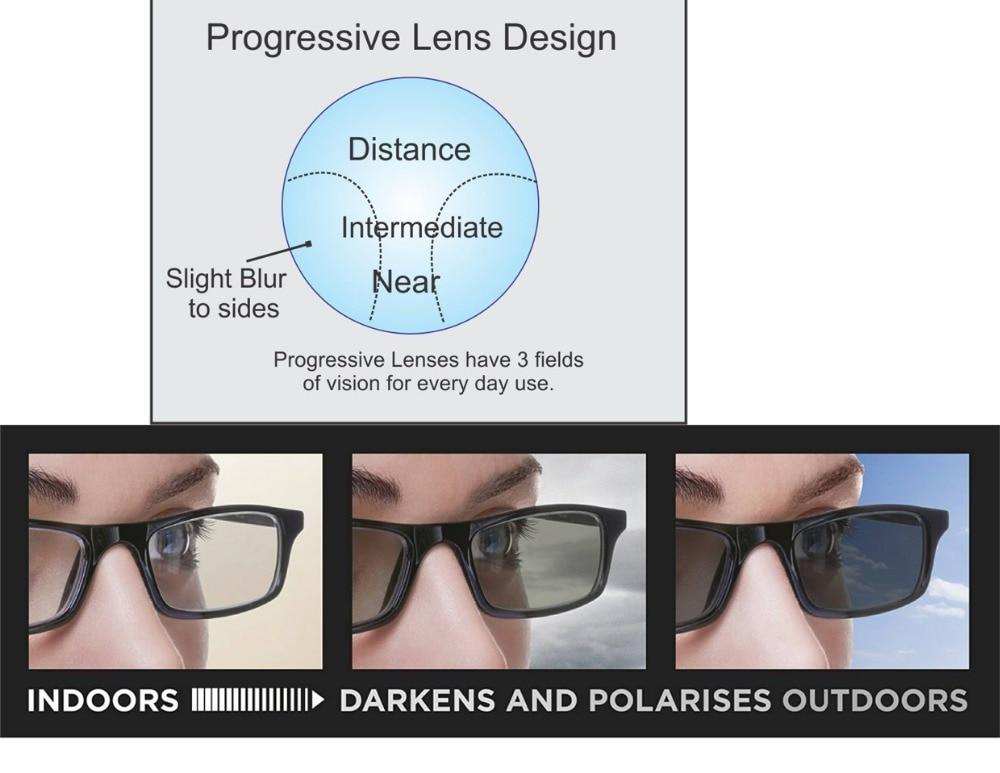 نظارة شمسية متعددة البؤر بتصميم حر من موديلات 161 عدسات تقدمية فوتوكروميك عدسات فوتوكروميك رمادي DD151506