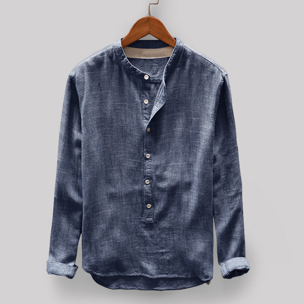 Moda hombres Otoño Invierno Lino y Blusa de algodón manga larga botón Casual superior alta calidad camisa vintage 2019 nuevas llegadas