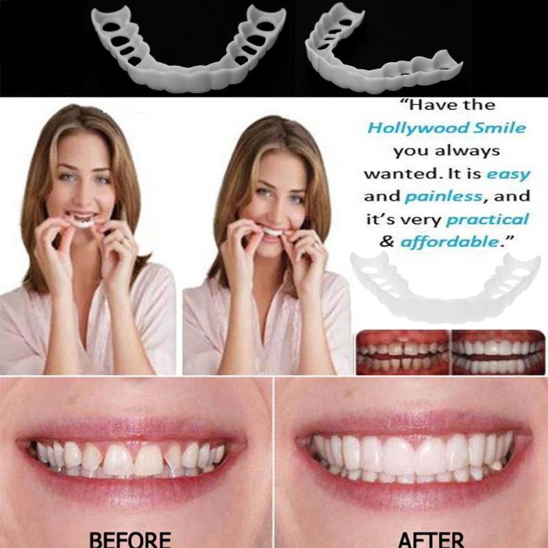 Cubierta para dientes falsos naturales cómodos tapa superior de silicona carillas de sonrisa perfectas herramientas de belleza cosmética dientes para hombres y mujeres