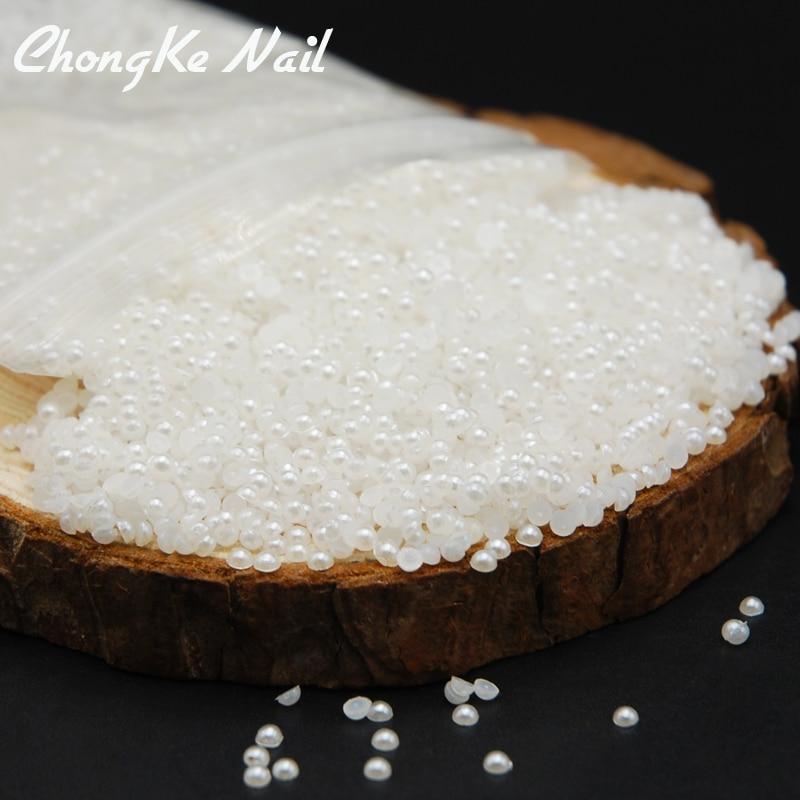1000 Uds. 2mm 3mm 4mm blanco brillante/Beige media perla redonda cuentas de reverso plano gemas perla de resina cuentas para arte de uñas joyería DIY Decoración