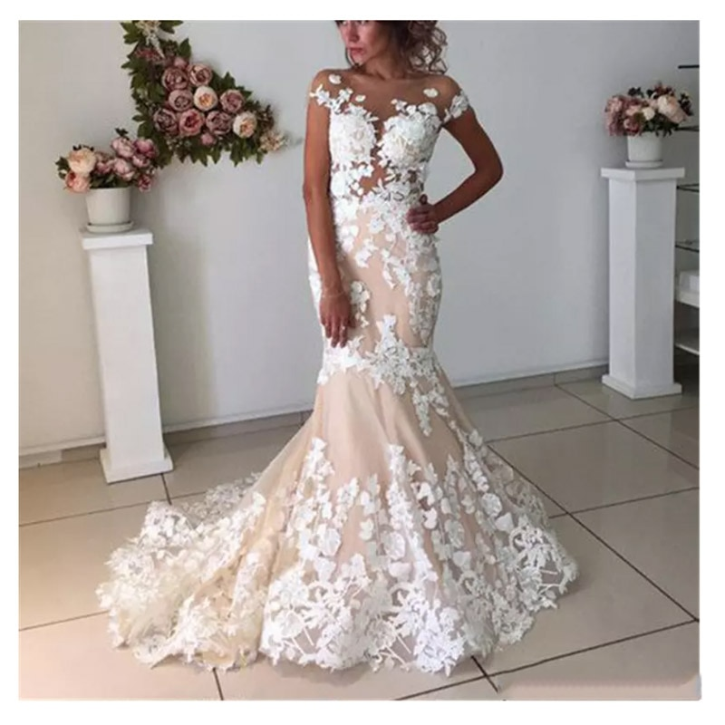 Купить с кэшбэком LORIE Champagne Mermaid Wedding Dresses Backless 2019 Robe de mariee  Vintage Lace Bridal Gown Lace Up Back