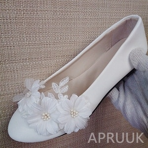White flowers flats shoes for woman handmade plus size 41 42 43 ladies party dinner proms dress dancing wedding flats shoe