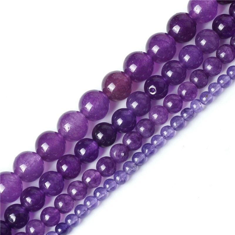 Amethyst Beads Natural Purple Jasper Blue Amazonite Jade Gemstone Bead Quartz Crystal Stone 4-10mm for Jewelry Making Bracelet