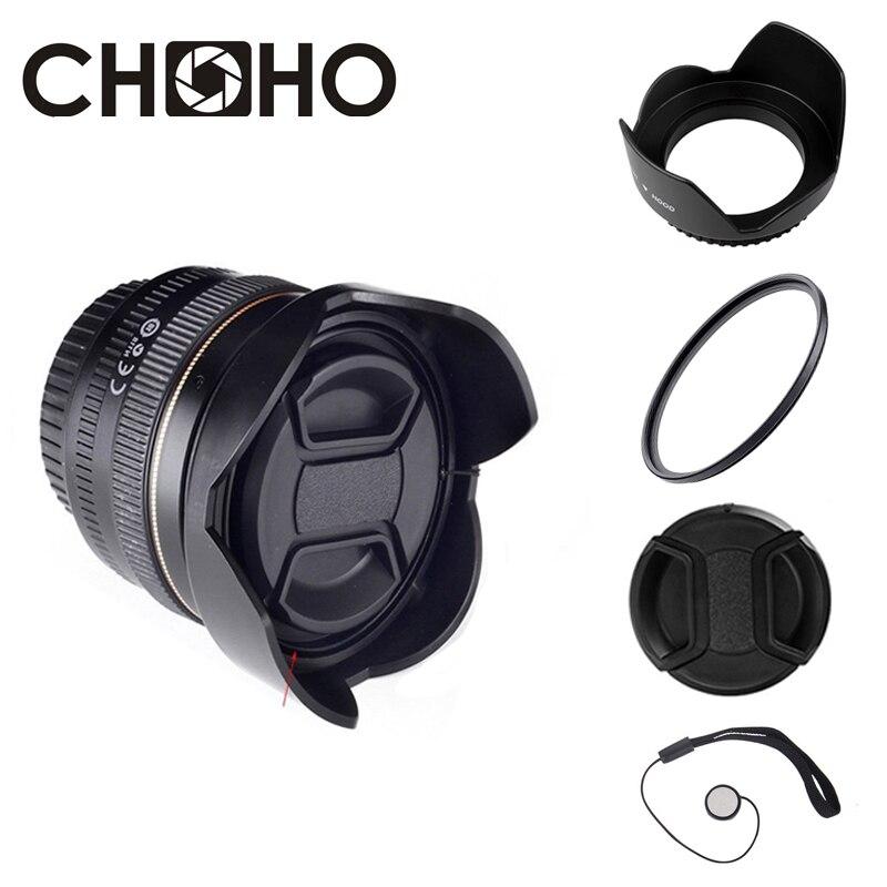 Бленда для объектива + УФ-фильтр + Крышка для объектива универсальная защитная пленка для камеры с цветком тюльпана 49 мм 52 мм 58 мм 55 мм 62 мм 67 м...