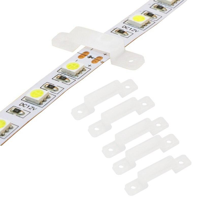 Arreglar tira de LED de gel de silicona titular 12mm LED clip conector para la fijación de luz de tira flexible 3528, 5050, 5630, 5730 DE LA CAJA Accessoriess