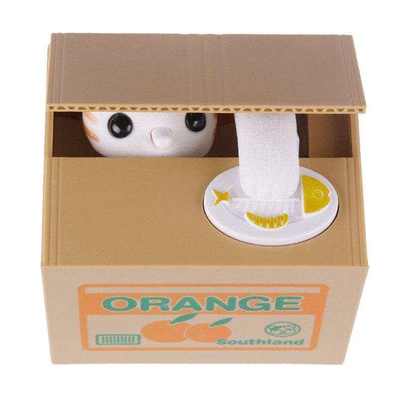 Gato automatizado adorável roubar banco de moedas mealheiro moneybox caixa de poupança de dinheiro presentes das crianças caixas de dinheiro frasco de moeda digital