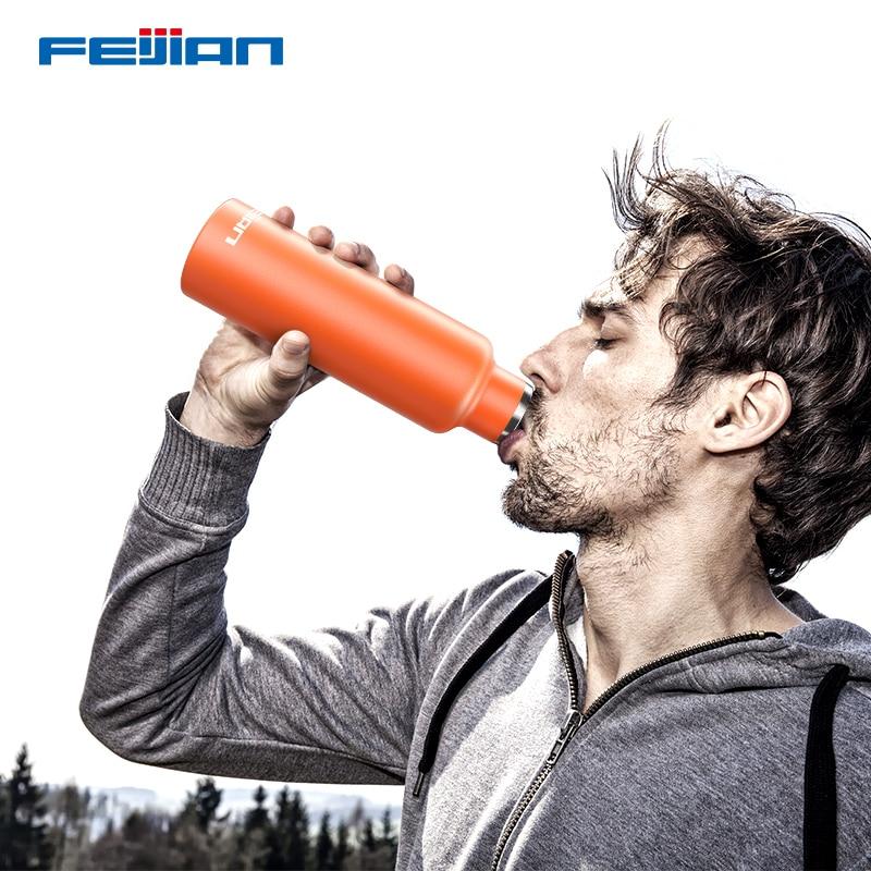FEIJIAN 600ml termo botella portátil taza térmica frasco de vacío de acero inoxidable aislamiento botella de bebida soporte de personalización