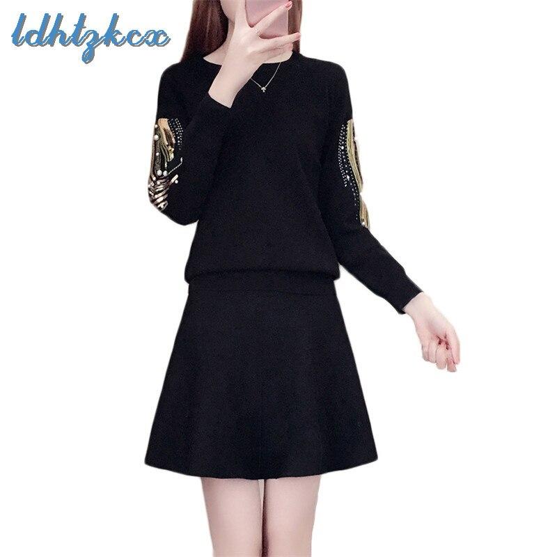 Women Set Plus Size Black Sweater and Mini Skirts Two Piece Sets 2019 Spring Korean Office Lady Beading Sequin Set Feminina CX04
