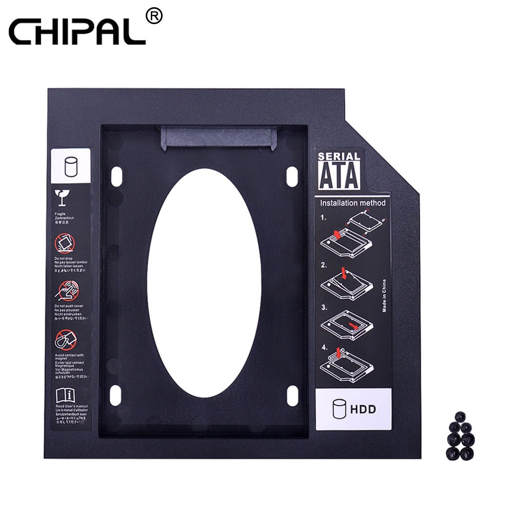 "CHIPAL 2nd HDD Caddy 9,5mm SATA 3,0 para 2,5 ""9mm 7mm SSD caso caja de disco duro adaptador para ordenador portátil de CD, DVD ROM Optibay"