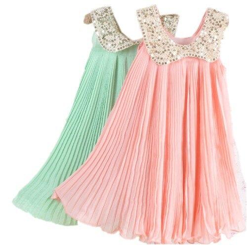 Детское шифоновое платье с воротником пайеткой розовое/зеленое|summer girl|dresses free
