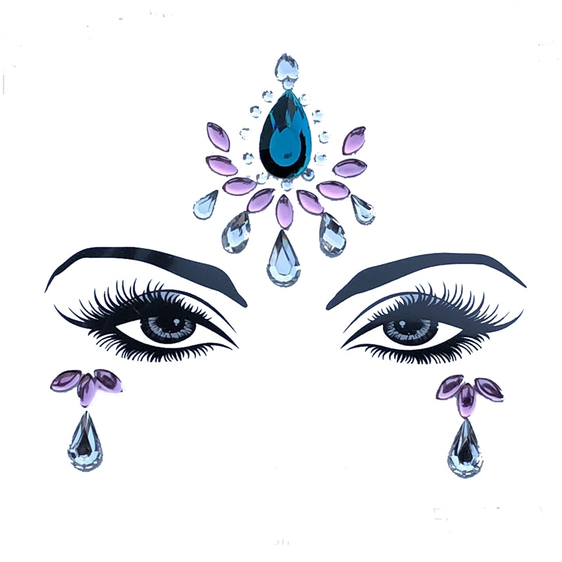 Acrylic Resin Drill Stick Bindi Sticker Handpicked Bohemia Style Face And Eye Jewelry Forehead Stage Decor Sticker 1Sheet