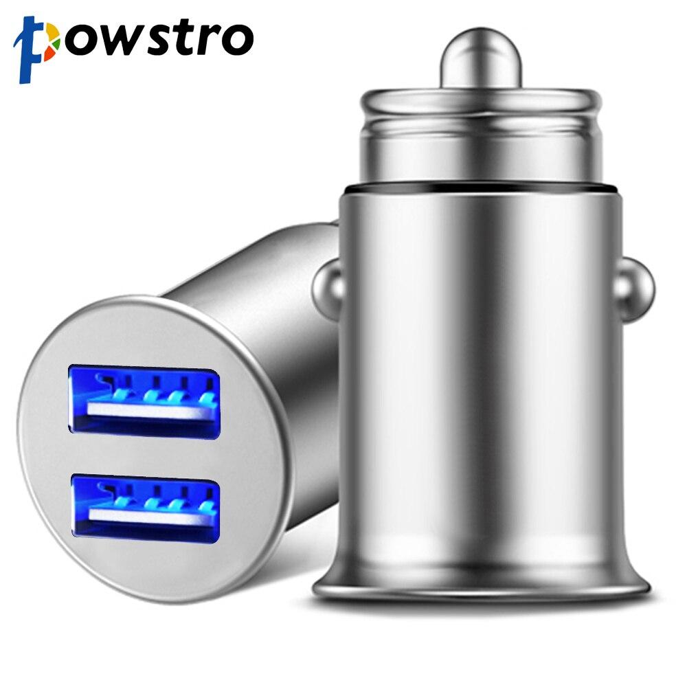 Powstro Mini adaptador de cargador de coche USB 4.8A cargador de coche de Metal móvil cargador de coche USB Carga automática Luz de respiración 2 puertos 24W