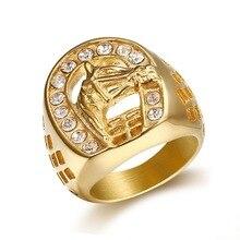 Хип-хоп Новые микро проложить Стразы Iced Out Bling кольцо с изображением лошади IP позолоченные титановые кольца из нержавеющей стали для мужчин ...