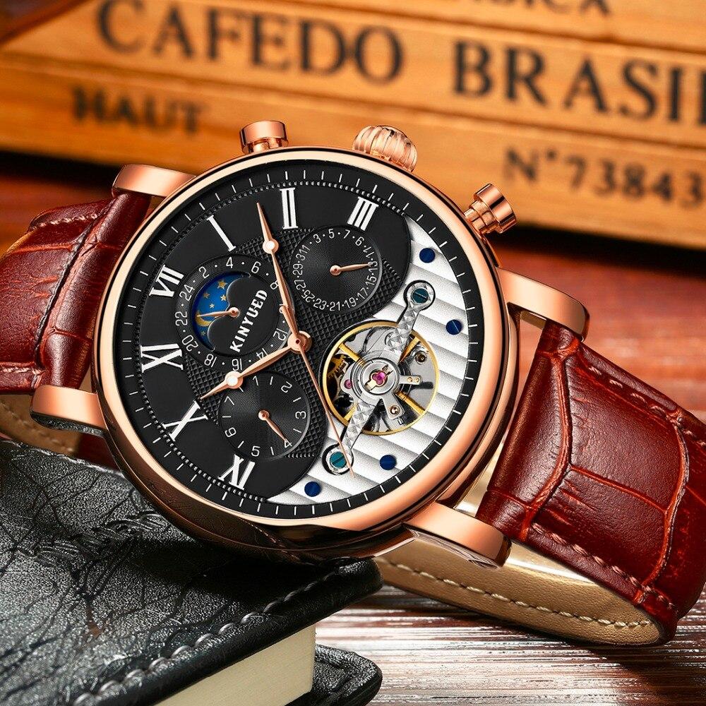 KINYUED модные Tourbillon Скелет часы для мужчин Спорт люксовый бренд Мужские автоматические механические часы календарь relogio masculino