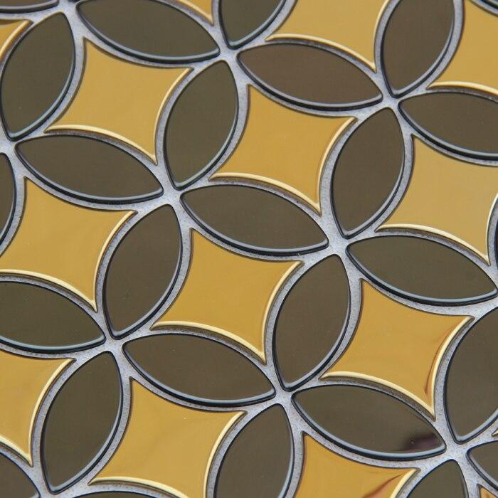 Ouro mista cor cinza telhas projeto especial de metal em aço inoxidável para cozinha backsplash mosaico parede tilesHME8106