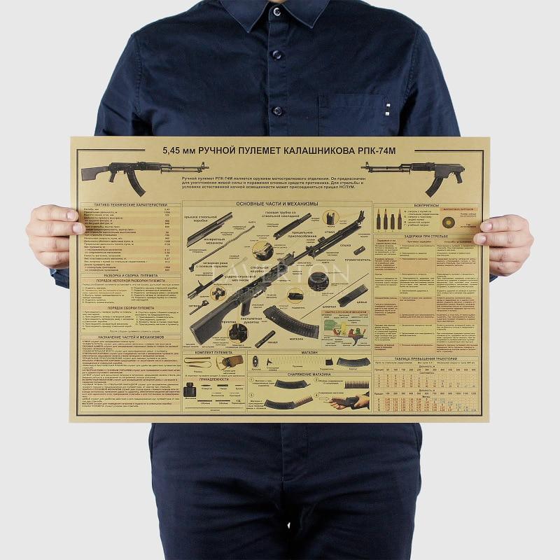 RPK 74 M/famosa carta de diseño de armas/pistola/papel kraft/póster para bar/póster Retro/pintura decorativa 51x35,5 cm envío gratis