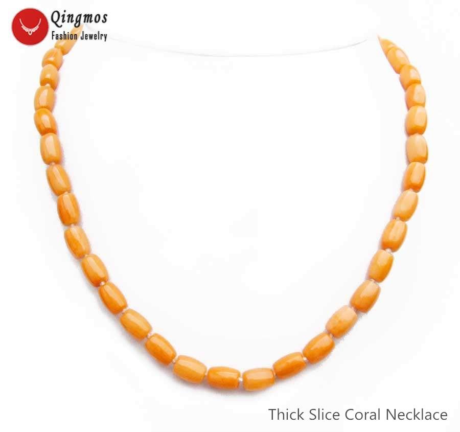 "Qingmos collar de Coral Natural de moda para mujeres con 6*9mm columna naranja gruesa rebanada Coral collar gargantilla de joyería 17 ""nec6550"