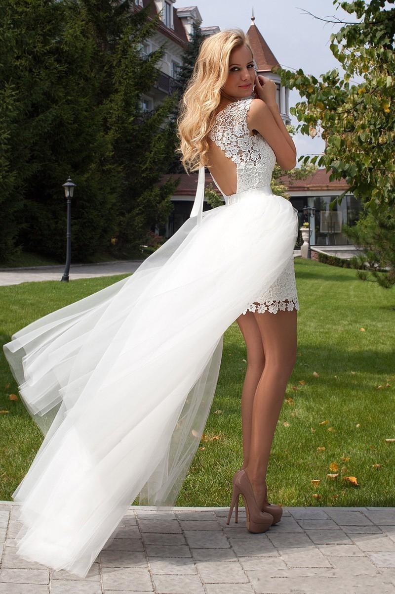 Купить с кэшбэком LORIE 2019 New Princess Wedding Dress mini Appliqued Detachable Train Wedding Gown Sleeveless Boho  Free Shipping Bride Dress