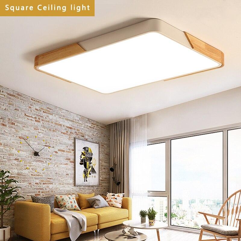 Malasia madera múltiples colores Metal lámpara cuadrada LED para techo 70 W, 42W. 32 W, 22 W, 16W para vestíbulo, dormitorio comedor
